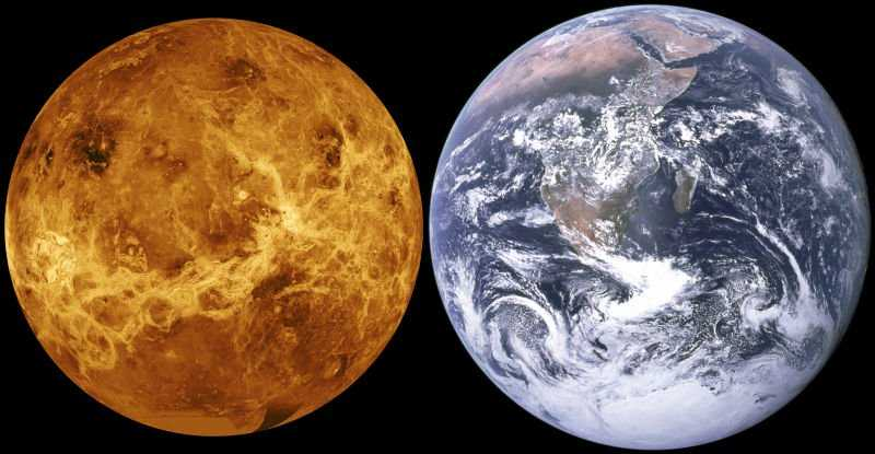 Сравнение Венеры с Землей