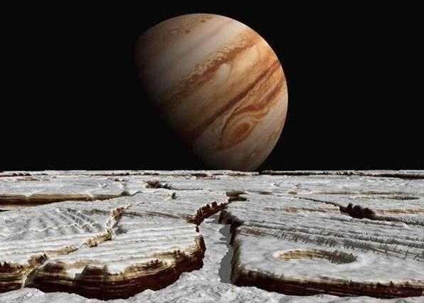 Возможный вид на Юпитер с поверхности Европы