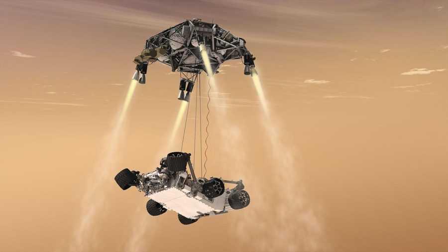 Марсоход Curiosity - тормозные реактивные двигатели